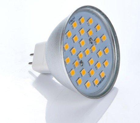 LED žiarovka 27 x SMD 2835 MR16 4,5W teplá biela