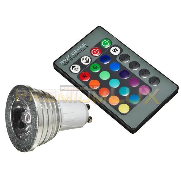 LED žiarovka RGB 3W GU10 + ovládač